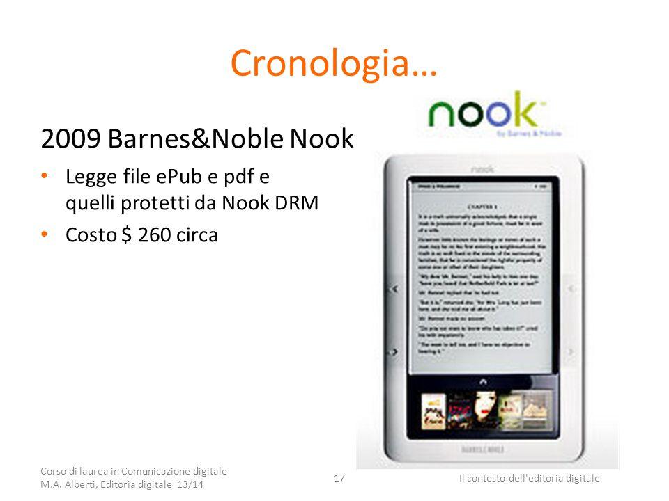 Cronologia… 2009 Barnes&Noble Nook Legge file ePub e pdf e quelli protetti da Nook DRM Costo $ 260 circa Corso di laurea in Comunicazione digitale M.A.