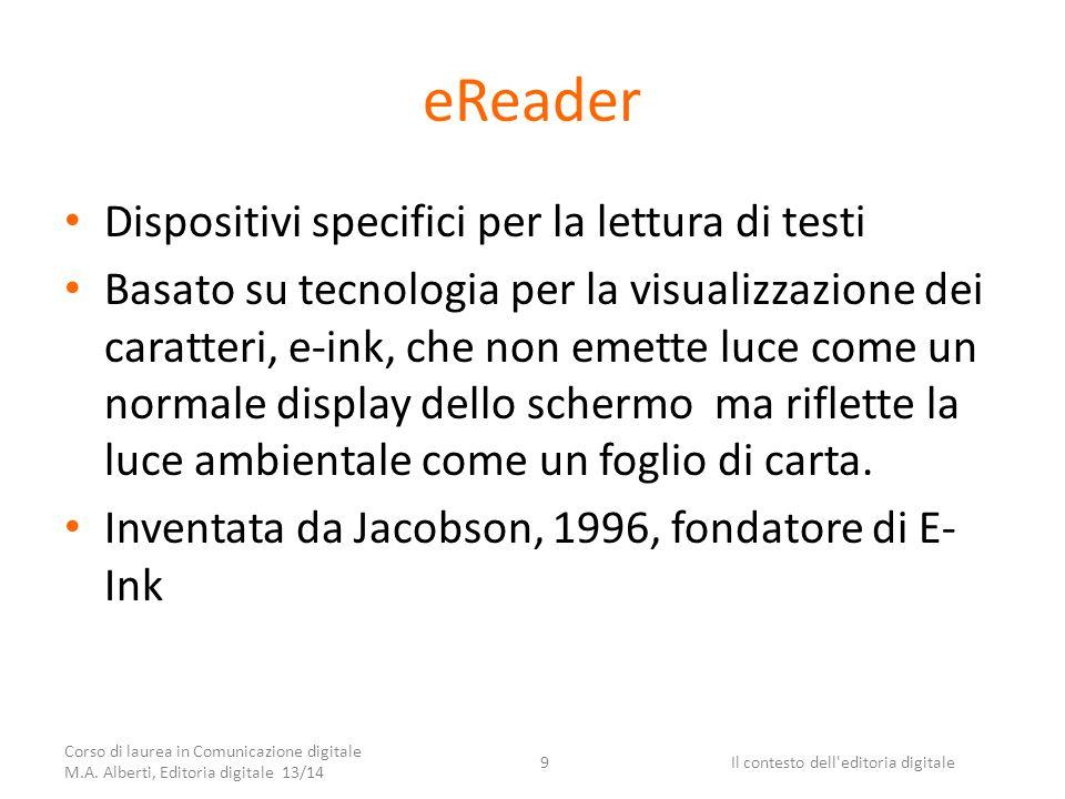 eReader Dispositivi specifici per la lettura di testi Basato su tecnologia per la visualizzazione dei caratteri, e-ink, che non emette luce come un normale display dello schermo ma riflette la luce ambientale come un foglio di carta.