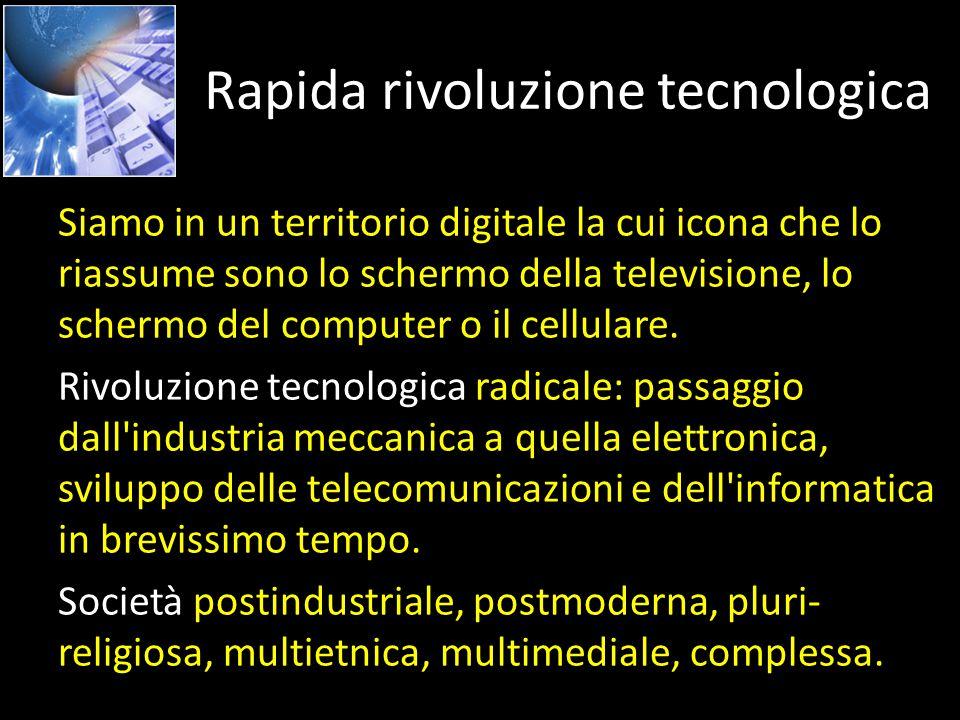 Rapida rivoluzione tecnologica Siamo in un territorio digitale la cui icona che lo riassume sono lo schermo della televisione, lo schermo del computer o il cellulare.