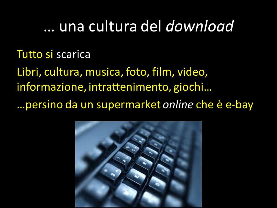… una cultura del download Tutto si scarica Libri, cultura, musica, foto, film, video, informazione, intrattenimento, giochi… …persino da un supermarket online che è e-bay