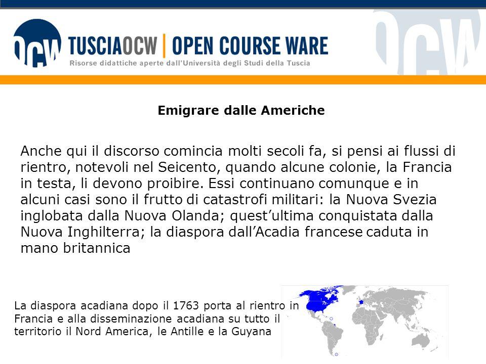 Un network transatlantico La grande migrazione ottocentesca crea reti transatlantiche che possono essere percorse nei due sensi.
