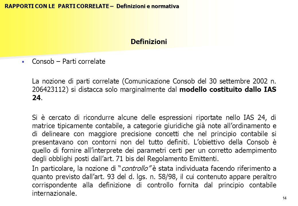 14 RAPPORTI CON LE PARTI CORRELATE – Definizioni e normativa Definizioni   Consob – Parti correlate La nozione di parti correlate (Comunicazione Consob del 30 settembre 2002 n.