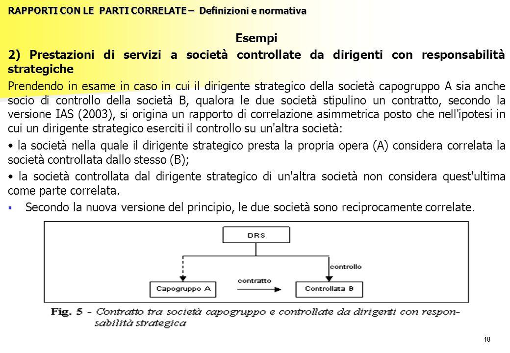 18 RAPPORTI CON LE PARTI CORRELATE – Definizioni e normativa Esempi 2) Prestazioni di servizi a società controllate da dirigenti con responsabilità st