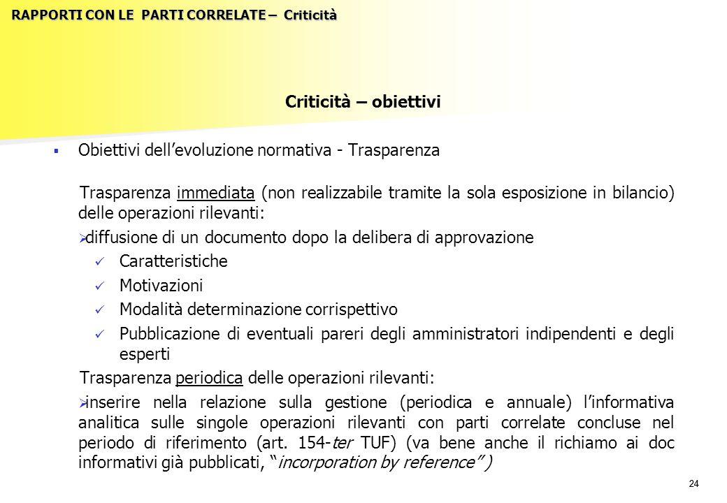 24 RAPPORTI CON LE PARTI CORRELATE – Criticità Criticità – obiettivi   Obiettivi dell'evoluzione normativa - Trasparenza Trasparenza immediata (non