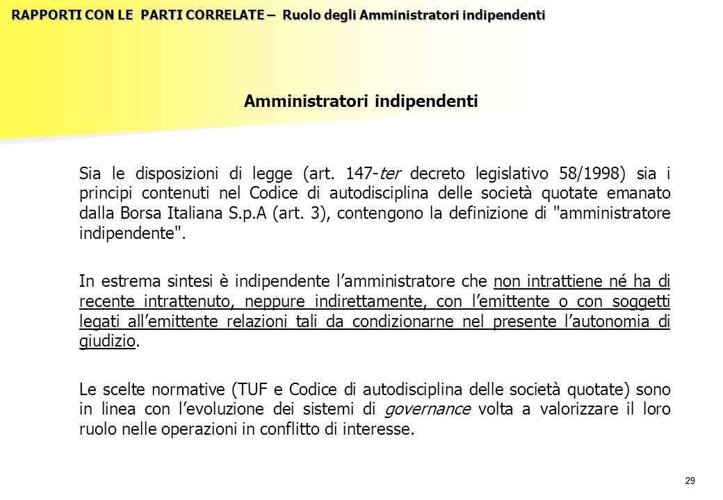29 RAPPORTI CON LE PARTI CORRELATE – Ruolo degli Amministratori indipendenti Amministratori indipendenti Sia le disposizioni di legge (art. 147-ter de