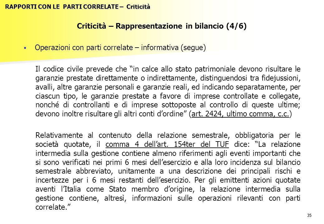 35 RAPPORTI CON LE PARTI CORRELATE – Criticità Criticità – Rappresentazione in bilancio (4/6)   Operazioni con parti correlate – informativa (segue)