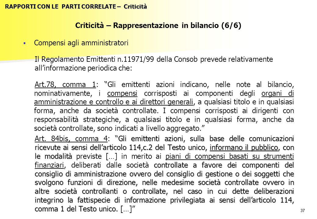 37 RAPPORTI CON LE PARTI CORRELATE – Criticità Criticità – Rappresentazione in bilancio (6/6)   Compensi agli amministratori Il Regolamento Emittent