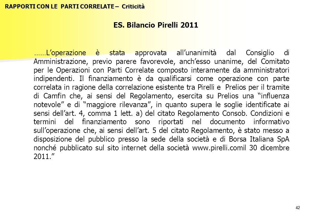 42 RAPPORTI CON LE PARTI CORRELATE – Criticità ES. Bilancio Pirelli 2011 ……L'operazione è stata approvata all'unanimità dal Consiglio di Amministrazio