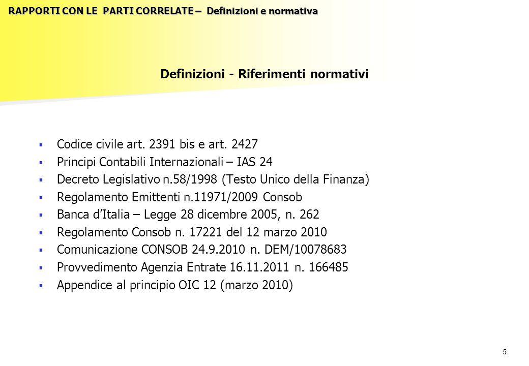 55 RAPPORTI CON LE PARTI CORRELATE – Definizioni e normativa Definizioni - Riferimenti normativi   Codice civile art. 2391 bis e art. 2427   Princ