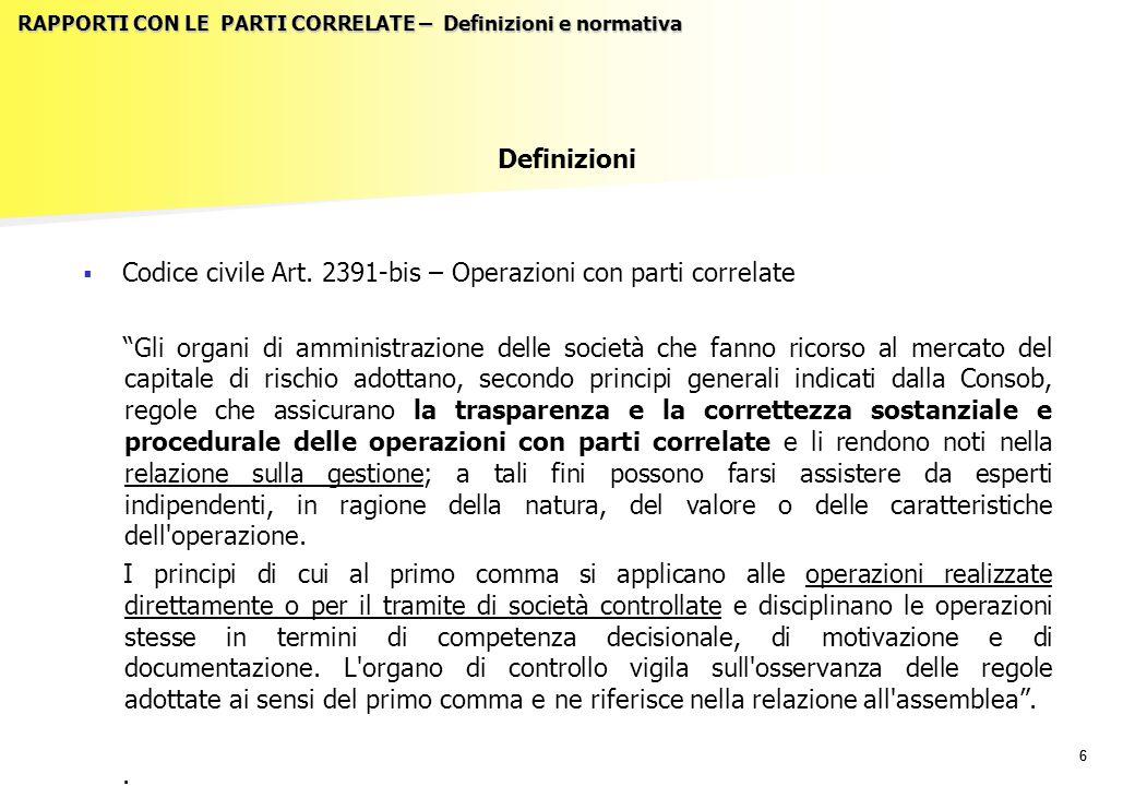 66 RAPPORTI CON LE PARTI CORRELATE – Definizioni e normativa Definizioni   Codice civile Art.