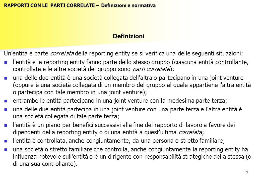 99 RAPPORTI CON LE PARTI CORRELATE – Definizioni e normativa Definizioni Un'entità è parte correlata della reporting entity se si verifica una delle s