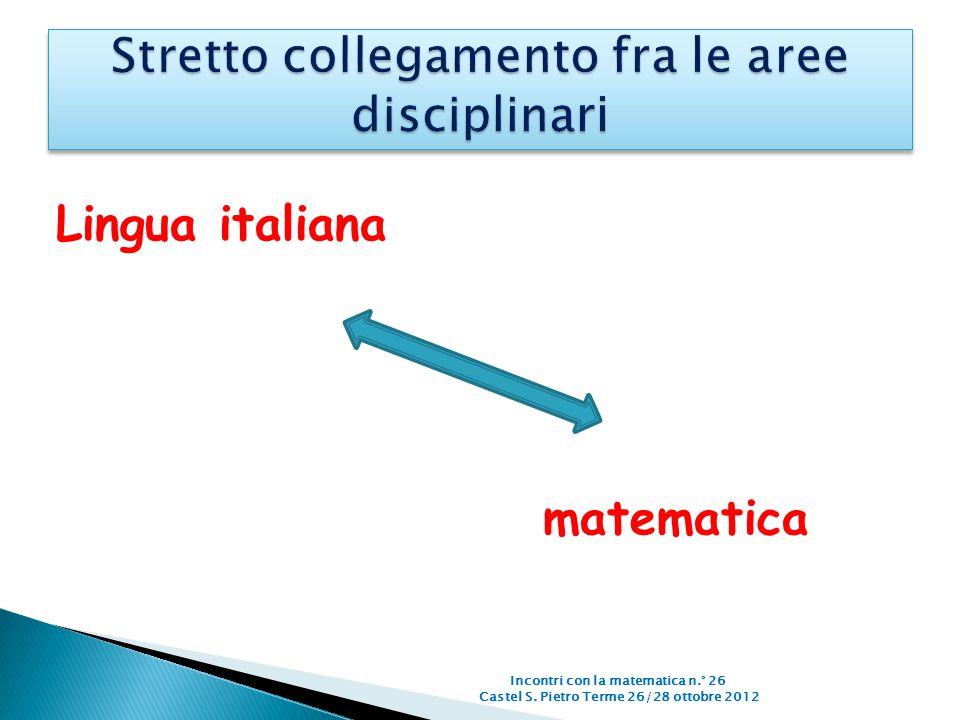 Lingua italiana Incontri con la matematica n.° 26 Castel S. Pietro Terme 26/28 ottobre 2012 matematica