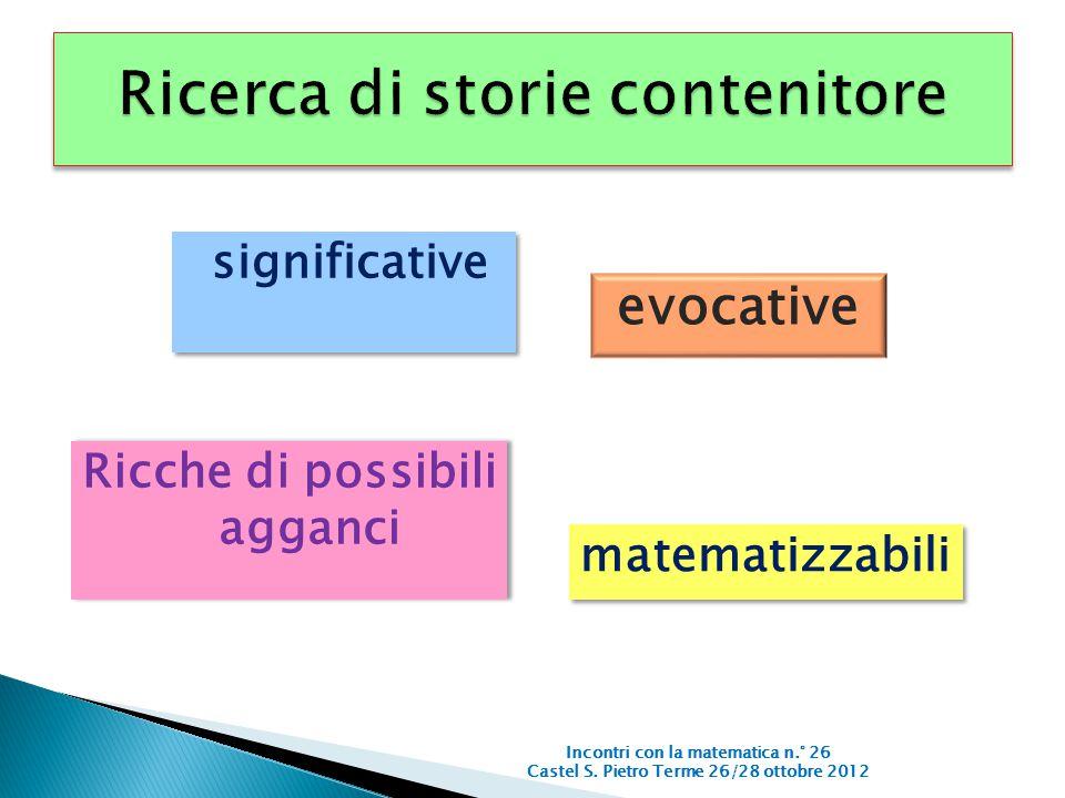 significative Incontri con la matematica n.° 26 Castel S. Pietro Terme 26/28 ottobre 2012 evocative Ricche di possibili agganci matematizzabili