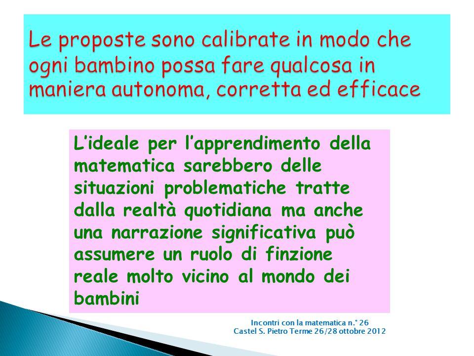 Incontri con la matematica n.° 26 Castel S. Pietro Terme 26/28 ottobre 2012 L'ideale per l'apprendimento della matematica sarebbero delle situazioni p