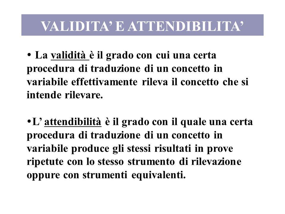 VALIDITA' E ATTENDIBILITA'  La validità è il grado con cui una certa procedura di traduzione di un concetto in variabile effettivamente rileva il con