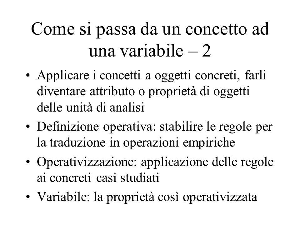 Come si passa da un concetto ad una variabile – 2 Applicare i concetti a oggetti concreti, farli diventare attributo o proprietà di oggetti delle unit