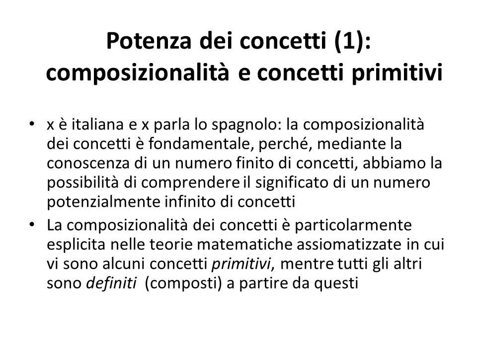 Potenza dei concetti (1): composizionalità e concetti primitivi x è italiana e x parla lo spagnolo: la composizionalità dei concetti è fondamentale, p
