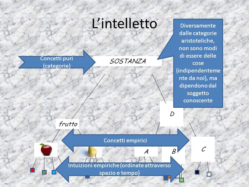 L'intelletto frutto A B C D Intuizioni empiriche (ordinate attraverso spazio e tempo) Concetti empirici SOSTANZA Concetti puri (categorie) Diversament