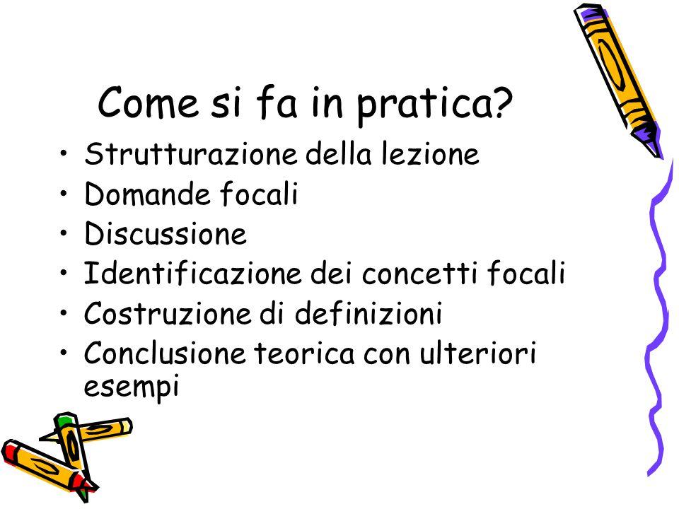 Come si fa in pratica? Strutturazione della lezione Domande focali Discussione Identificazione dei concetti focali Costruzione di definizioni Conclusi