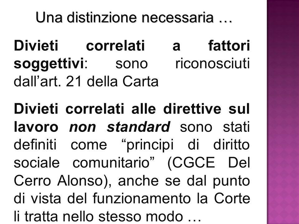 Una distinzione necessaria … Divieti correlati a fattori soggettivi: sono riconosciuti dall'art. 21 della Carta Divieti correlati alle direttive sul l