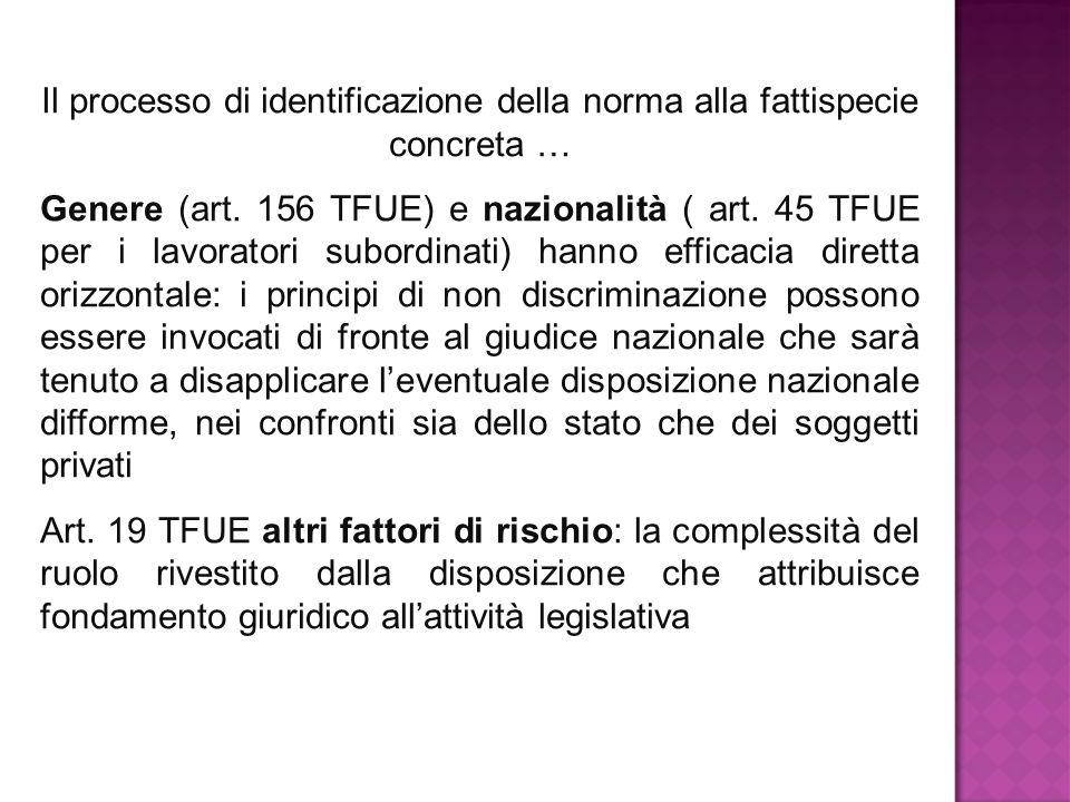 Il processo di identificazione della norma alla fattispecie concreta … Genere (art. 156 TFUE) e nazionalità ( art. 45 TFUE per i lavoratori subordinat