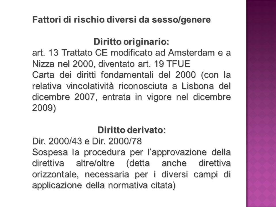 Fattori di rischio diversi da sesso/genere Diritto originario: art. 13 Trattato CE modificato ad Amsterdam e a Nizza nel 2000, diventato art. 19 TFUE