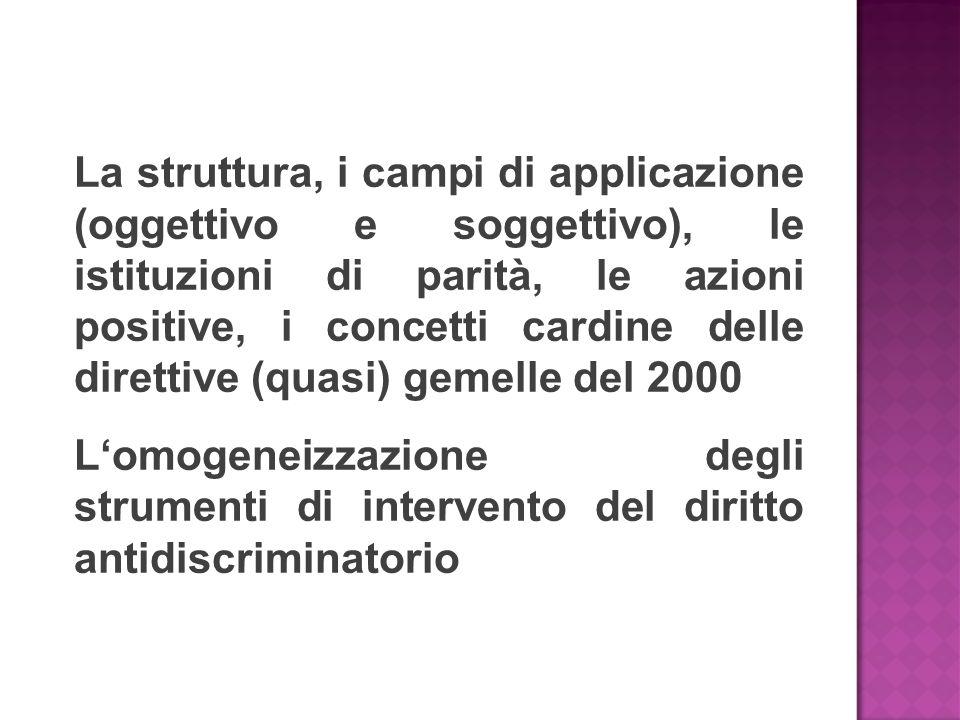 La struttura, i campi di applicazione (oggettivo e soggettivo), le istituzioni di parità, le azioni positive, i concetti cardine delle direttive (quasi) gemelle del 2000 L'omogeneizzazione degli strumenti di intervento del diritto antidiscriminatorio