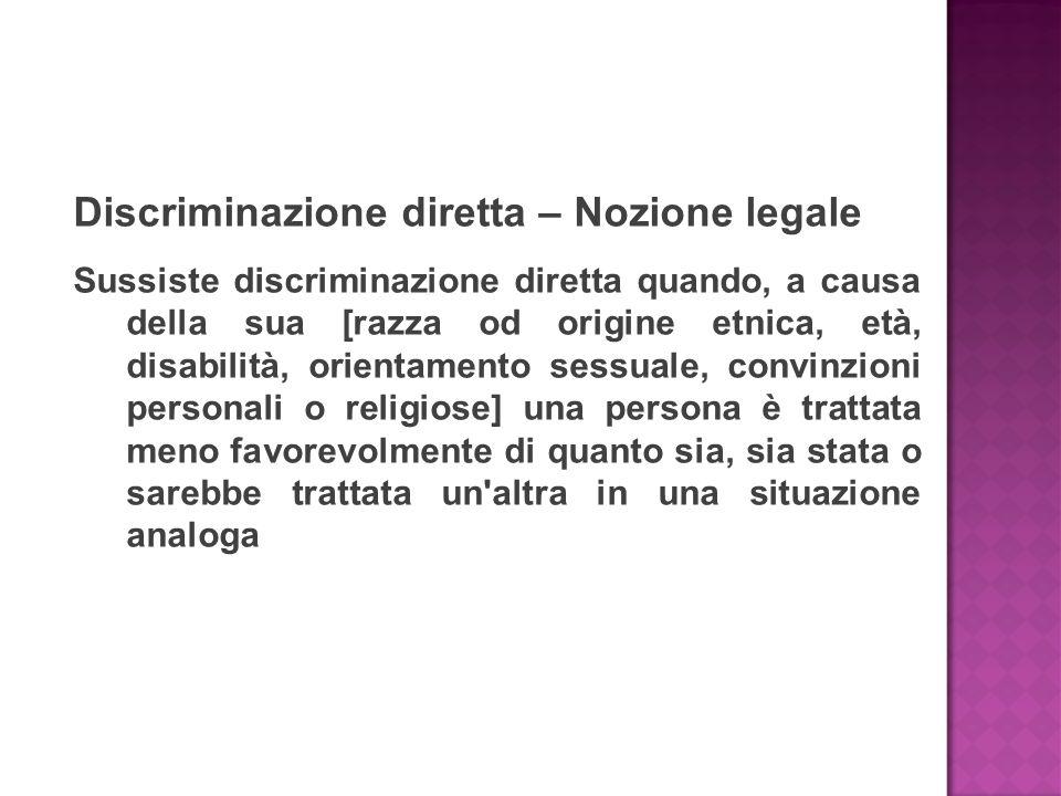 Discriminazione diretta – Nozione legale Sussiste discriminazione diretta quando, a causa della sua [razza od origine etnica, età, disabilità, orienta