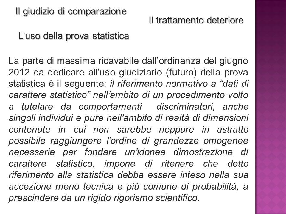 Il giudizio di comparazione Il trattamento deteriore L'uso della prova statistica La parte di massima ricavabile dall'ordinanza del giugno 2012 da ded