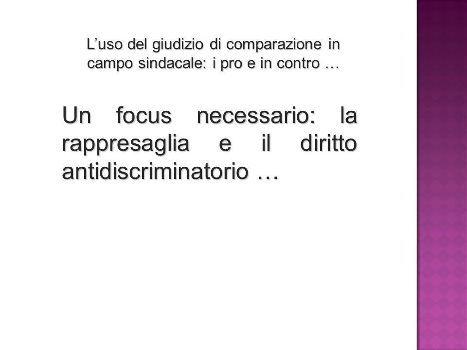 L'uso del giudizio di comparazione in campo sindacale: i pro e in contro … Un focus necessario: la rappresaglia e il diritto antidiscriminatorio …