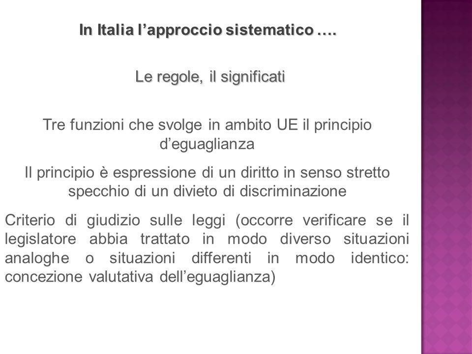 In Italia l'approccio sistematico …. Le regole, il significati Tre funzioni che svolge in ambito UE il principio d'eguaglianza Il principio è espressi