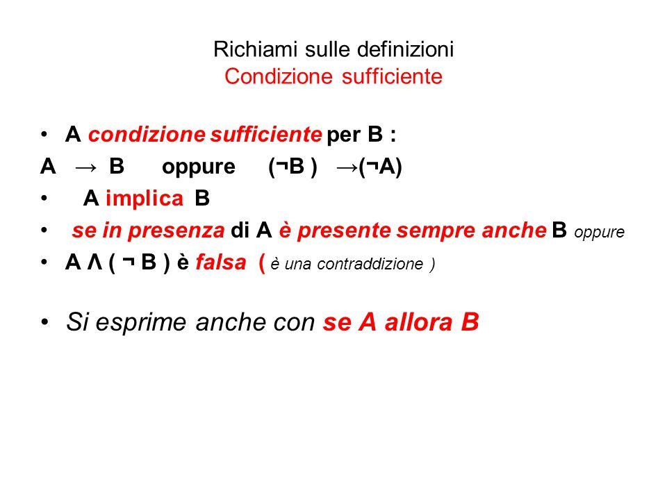 Richiami sulle definizioni Condizione sufficiente A condizione sufficiente per B : A → B oppure (¬B ) →(¬A) A implica B se in presenza di A è presente