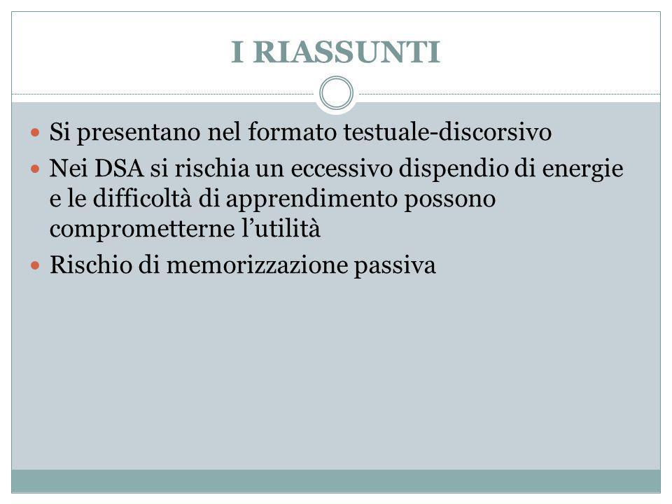 I RIASSUNTI Si presentano nel formato testuale-discorsivo Nei DSA si rischia un eccessivo dispendio di energie e le difficoltà di apprendimento posson