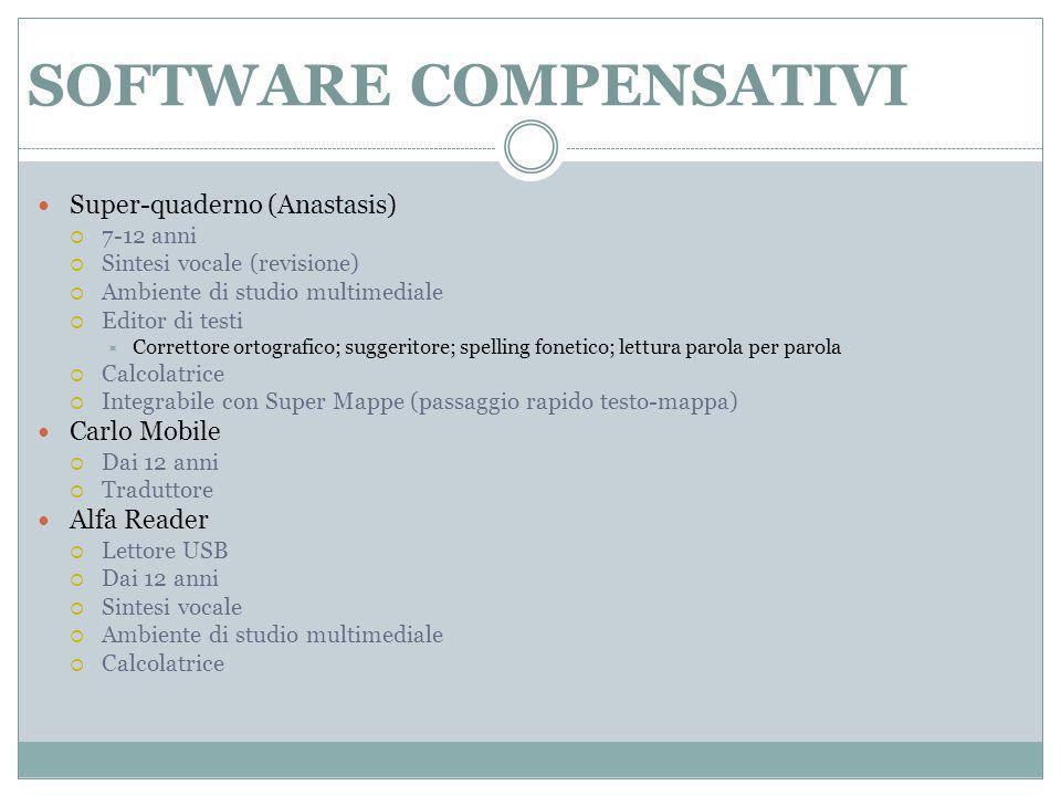 SOFTWARE COMPENSATIVI Super-quaderno (Anastasis)  7-12 anni  Sintesi vocale (revisione)  Ambiente di studio multimediale  Editor di testi  Corret