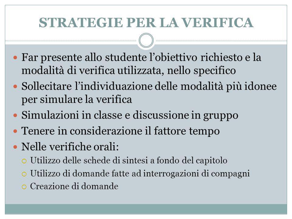 STRATEGIE PER LA VERIFICA Far presente allo studente l'obiettivo richiesto e la modalità di verifica utilizzata, nello specifico Sollecitare l'individ