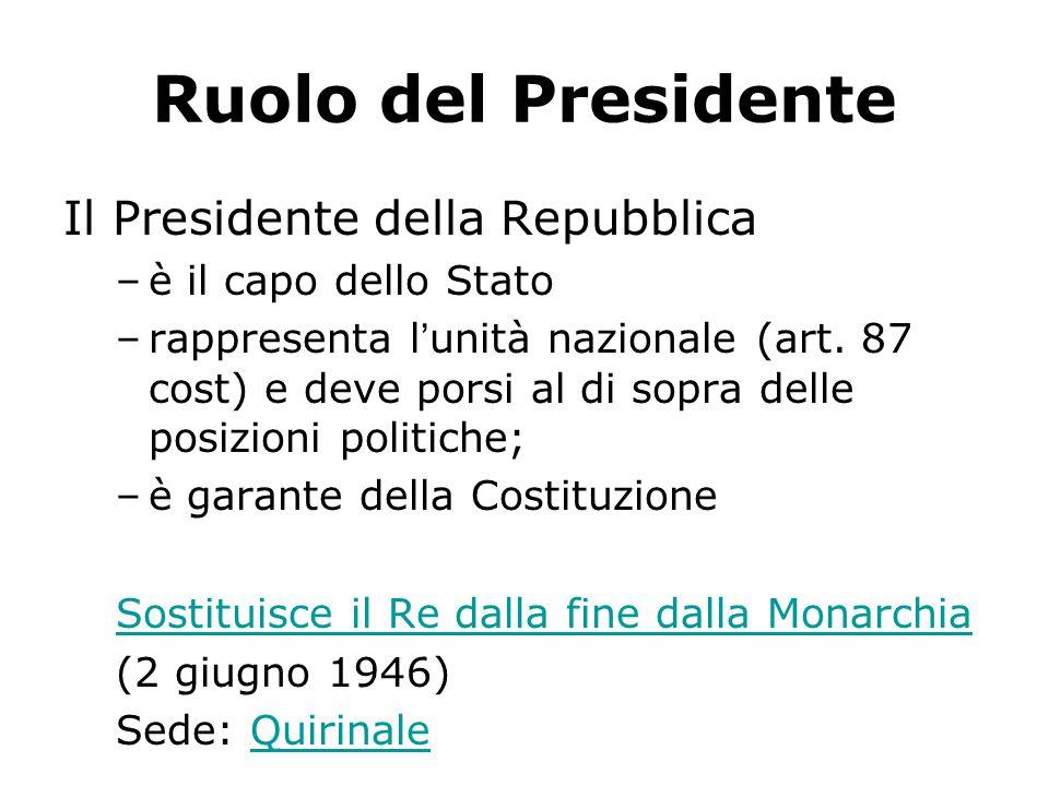 Ruolo del Presidente Il Presidente della Repubblica –è il capo dello Stato –rappresenta l'unità nazionale (art.