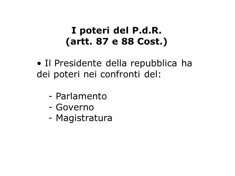 I poteri del P.d.R.(artt.