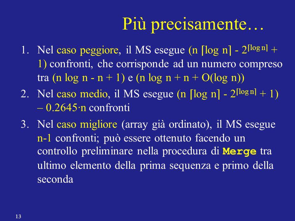 Più precisamente… 1.Nel caso peggiore, il MS esegue (n ⌈ log n ⌉ - 2 ⌈ log n ⌉ + 1) confronti, che corrisponde ad un numero compreso tra (n log n - n + 1) e (n log n + n + O(log n)) 2.Nel caso medio, il MS esegue (n ⌈ log n ⌉ - 2 ⌈ log n ⌉ + 1) – 0.2645·n confronti 3.Nel caso migliore (array già ordinato), il MS esegue n-1 confronti; può essere ottenuto facendo un controllo preliminare nella procedura di Merge tra ultimo elemento della prima sequenza e primo della seconda 13
