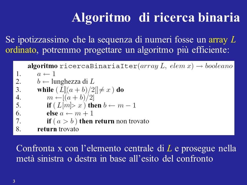 Osservazioni finali Il MergeSort è un algoritmo (asintoticamente) ottimo rispetto al numero di confronti eseguiti nel caso peggiore Il MergeSort non ordina in loco, e utilizza memoria ausiliaria (l'occupazione di memoria finale è pari a 2n) 14