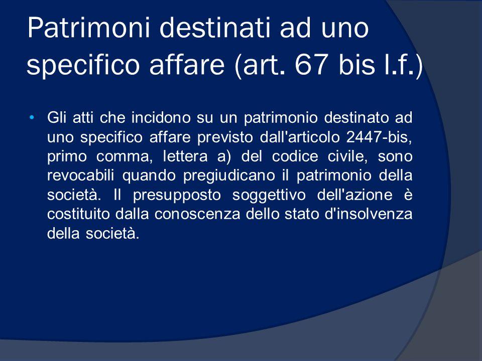 Patrimoni destinati ad uno specifico affare (art. 67 bis l.f.) Gli atti che incidono su un patrimonio destinato ad uno specifico affare previsto dall'