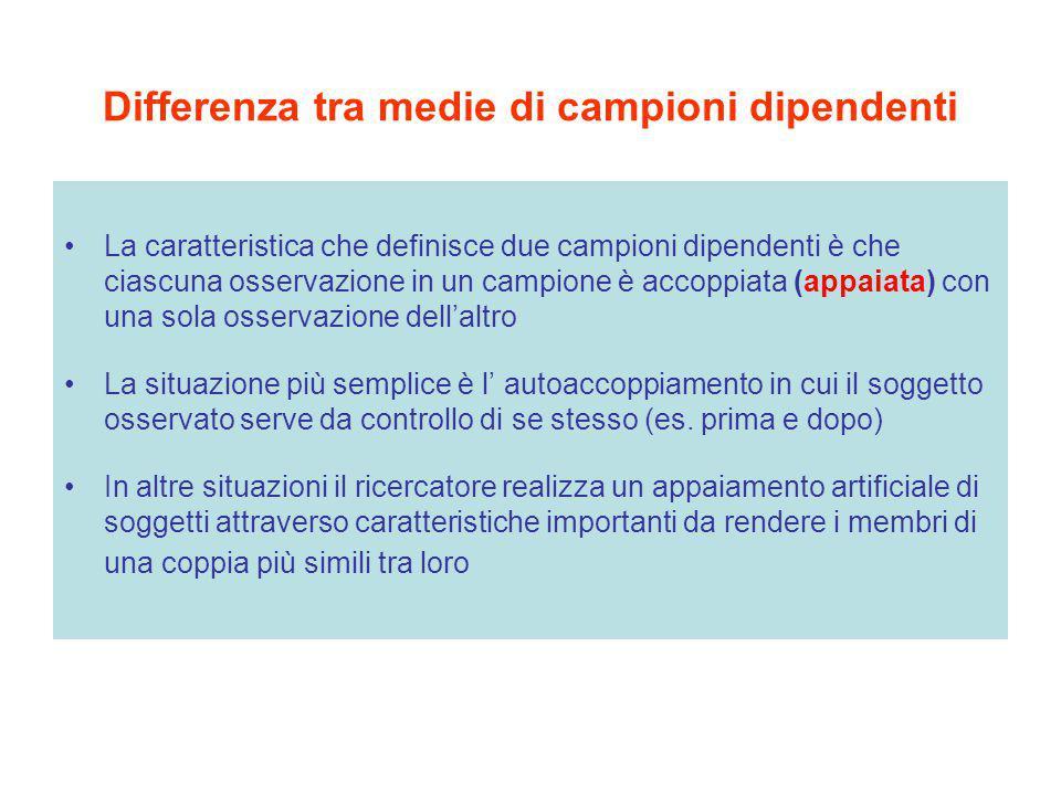 Differenza tra medie di campioni dipendenti La caratteristica che definisce due campioni dipendenti è che ciascuna osservazione in un campione è accop