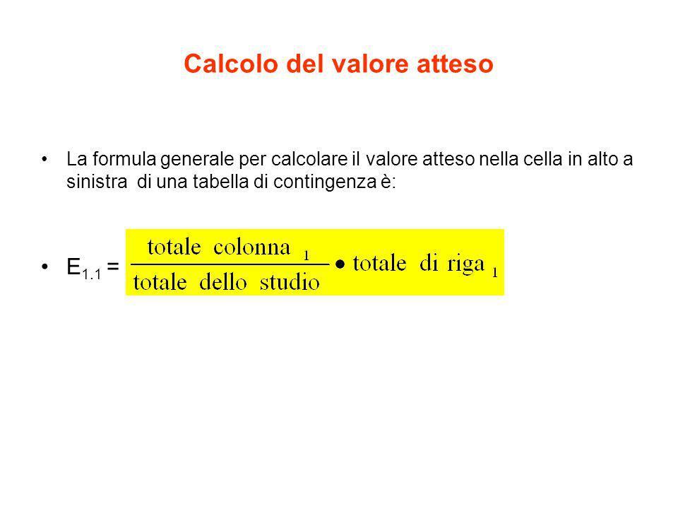 Calcolo del valore atteso La formula generale per calcolare il valore atteso nella cella in alto a sinistra di una tabella di contingenza è: E 1.1 =