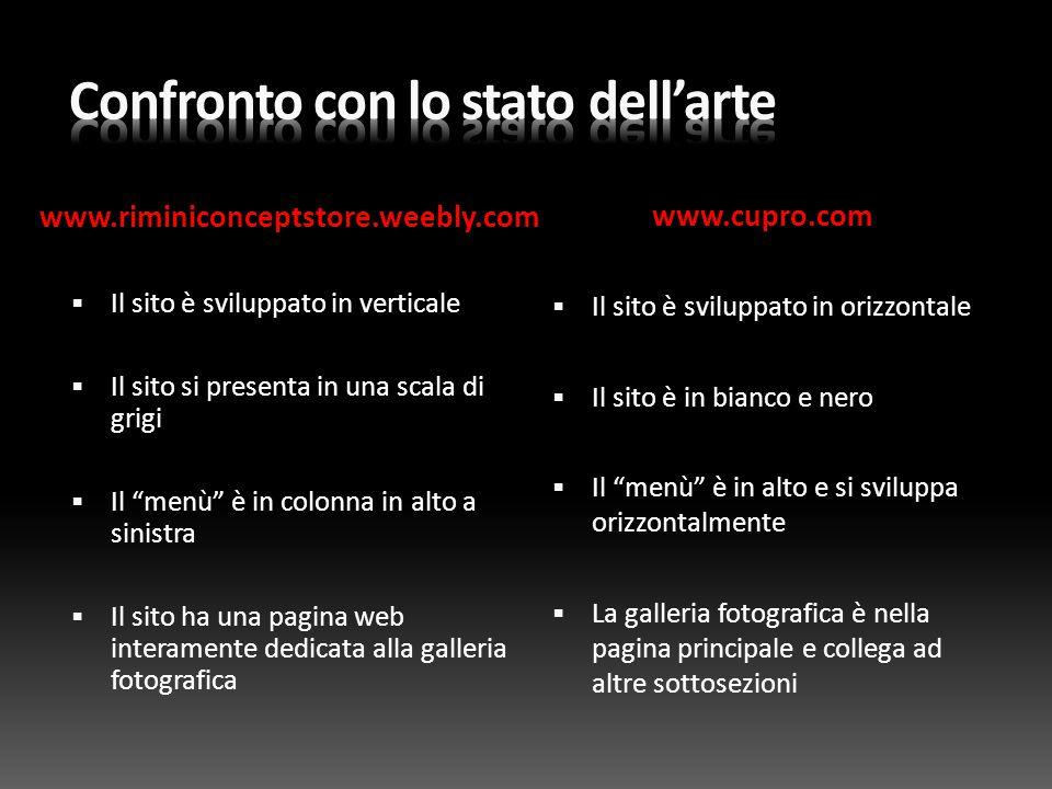 """www.riminiconceptstore.weebly.com www.cupro.com  Il sito è sviluppato in verticale  Il sito si presenta in una scala di grigi  Il """"menù"""" è in colon"""
