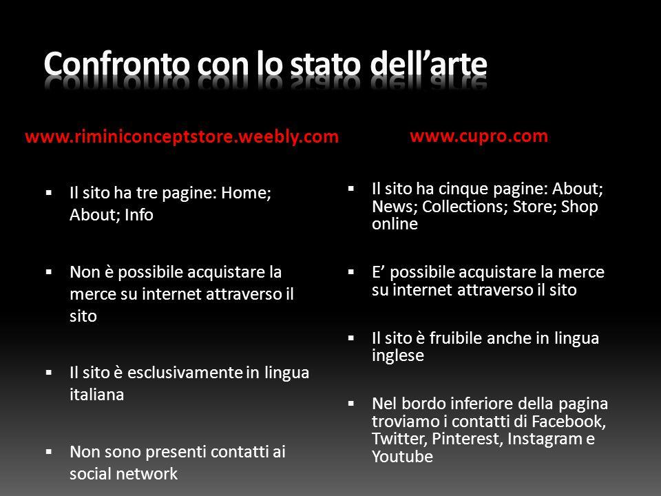 www.riminiconceptstore.weebly.com www.cupro.com  Il sito ha tre pagine: Home; About; Info  Non è possibile acquistare la merce su internet attravers