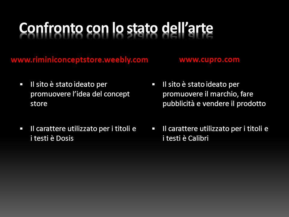 www.riminiconceptstore.weebly.com www.cupro.com  Il sito è stato ideato per promuovere l'idea del concept store  Il carattere utilizzato per i titol