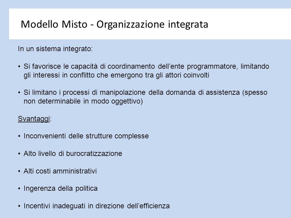 Modello Misto - Organizzazione integrata In un sistema integrato: Si favorisce le capacità di coordinamento dell'ente programmatore, limitando gli int