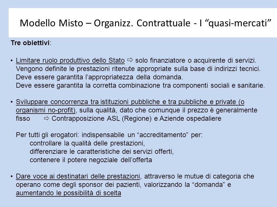 """Modello Misto – Organizz. Contrattuale - I """"quasi-mercati"""" Tre obiettivi: Limitare ruolo produttivo dello Stato  solo finanziatore o acquirente di se"""