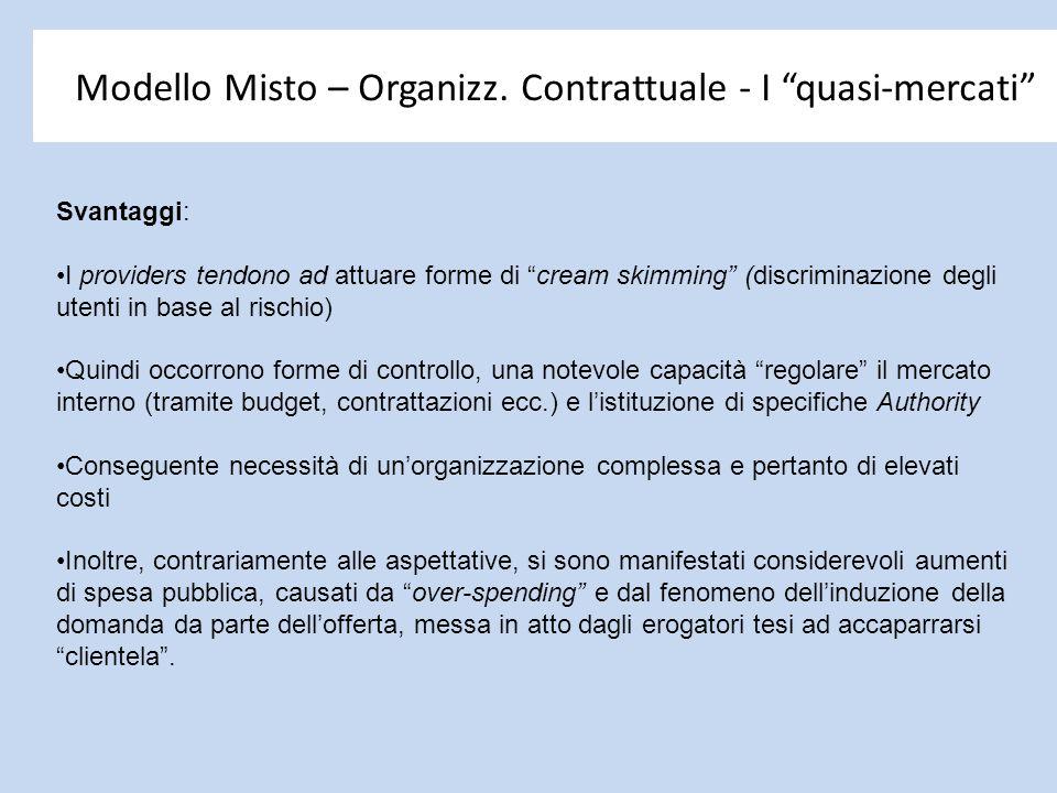 """Modello Misto – Organizz. Contrattuale - I """"quasi-mercati"""" Svantaggi: I providers tendono ad attuare forme di """"cream skimming"""" (discriminazione degli"""