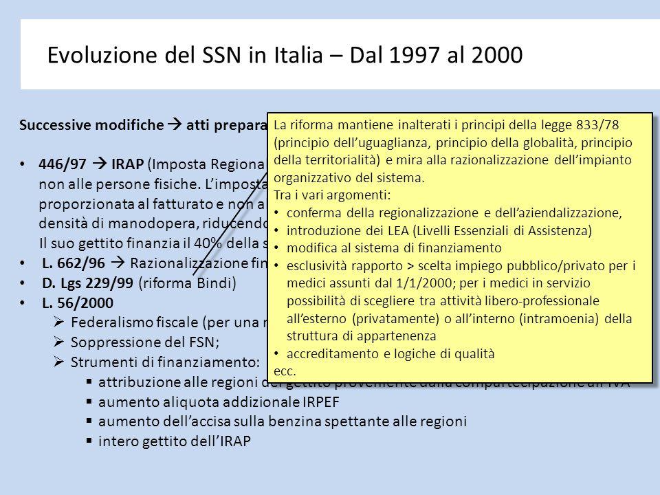 Evoluzione del SSN in Italia – Dal 1997 al 2000 Successive modifiche  atti preparatori alla svolta federalista: 446/97  IRAP (Imposta Regionale Atti