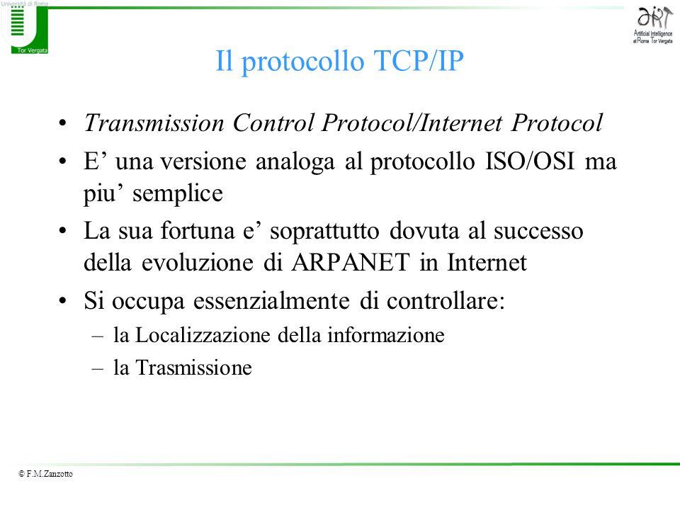 © F.M.Zanzotto Il protocollo TCP/IP Transmission Control Protocol/Internet Protocol E' una versione analoga al protocollo ISO/OSI ma piu' semplice La sua fortuna e' soprattutto dovuta al successo della evoluzione di ARPANET in Internet Si occupa essenzialmente di controllare: –la Localizzazione della informazione –la Trasmissione